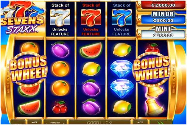Sevens Staxx Pokies with 1024 ways to win- Bonus WHeel Feature