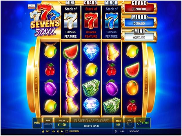 Sevens Staxx Pokies with 1024 ways to win- Game symbols